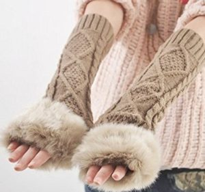 Fur-lined Fingerless Gloves