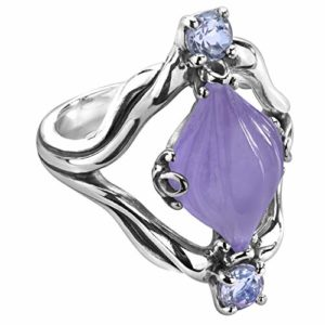 Purple Jade & Silver Ring