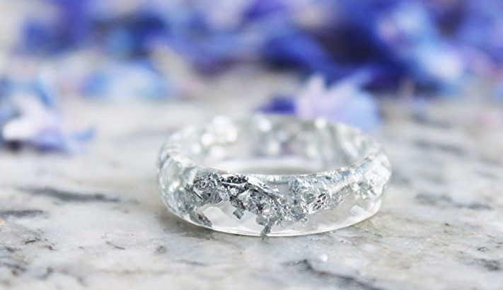 Silver Flakes Resin Ring