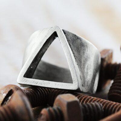 Silver Metal Alloy Men's Ring