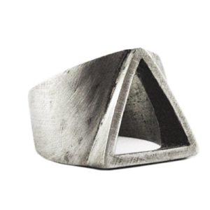 Silver Men's Triangle Ring